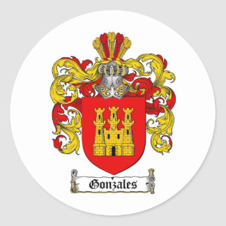 GONZALES FAMILY CREST -  GONZALES COAT OF ARMS ROUND STICKERS