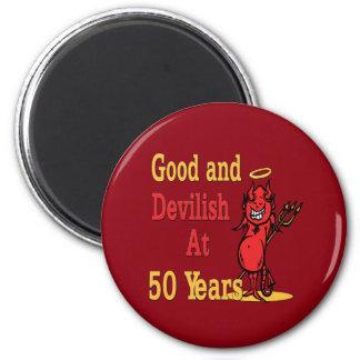 Good and Devilish 50th Birthday 6 Cm Round Magnet