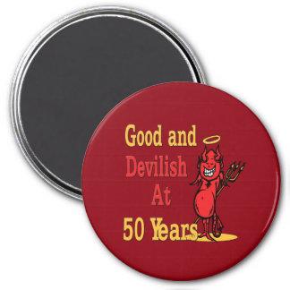 Good and Devilish 50th Birthday 7.5 Cm Round Magnet