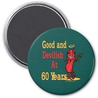 Good and Devilish 60th Birthday 7.5 Cm Round Magnet