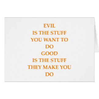 good and evil greeting card