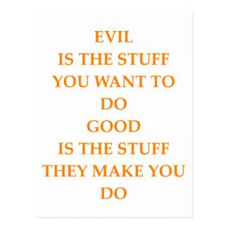 good and evil postcard