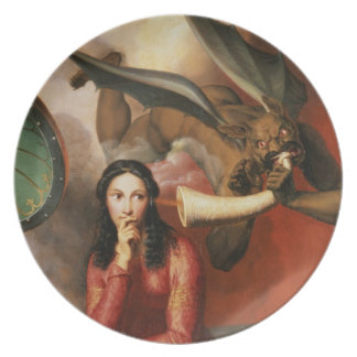 Good and Evil: the Devil Tempting a Young Woman, 1 Dinner Plates