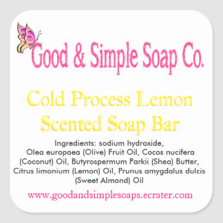 Good and Simple Soap Label Lemon Soap Square Stickers