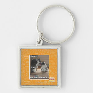 Good boy Silver-Colored square key ring