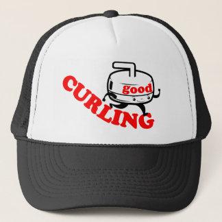 "[ GOOD CURLING ] Retro ""Stone Guy"" Gifts by SKO Trucker Hat"