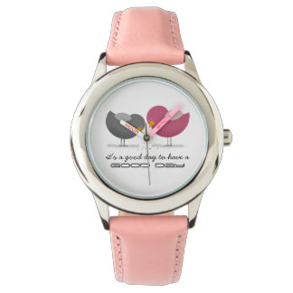 Good Day Beautiful Birds Pink Cheerful Sweet Funny Wristwatch