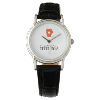 Good Day Warm Coffee Love Simple Beautiful Unique Watch