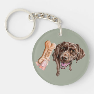 """""""GOOD DOG"""" Chocolate Lab Watercolor Painting Key Ring"""