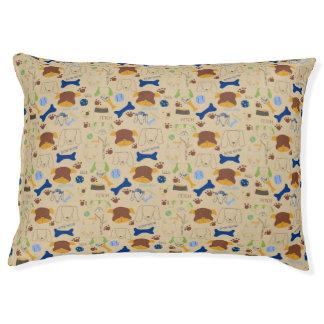 Good Doggie Hand-Drawn Cartoon Beige Background Pet Bed