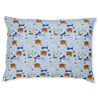 Good Doggie Hand-Drawn Cartoon Blue Background Pet Bed