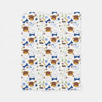 Good Doggie Hand-Drawn Cartoon Dog Print Fleece Blanket