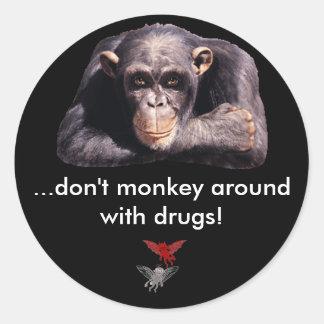 Good /Evil, ...don't monkey around with... Round Sticker