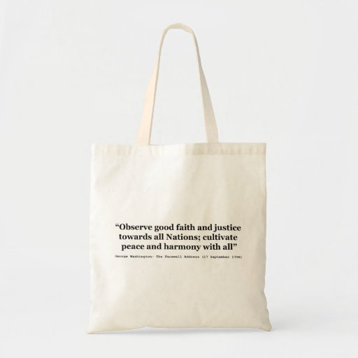 Good Faith and Justice Peace and Harmony Canvas Bags