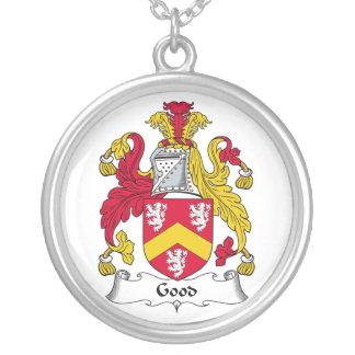 Good Family Crest Round Pendant Necklace