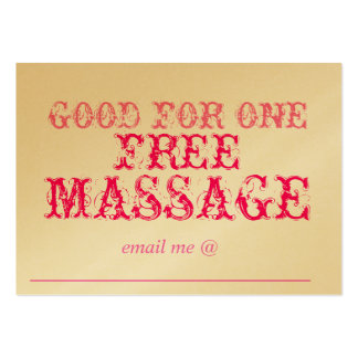 GOOD FOR ONE FREE MASSAGE - CARD PACK OF CHUBBY BUSINESS CARDS