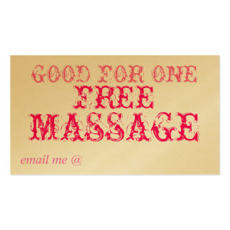 GOOD FOR ONE FREE MASSAGE - CARD PACK OF STANDARD BUSINESS CARDS