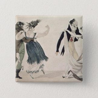 Good Form, No. 1: The Waltz, satirical cartoon 15 Cm Square Badge