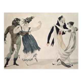 Good Form, No. 1: The Waltz, satirical cartoon Postcard
