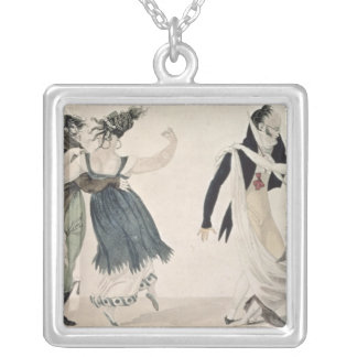 Good Form, No. 1: The Waltz, satirical cartoon Silver Plated Necklace