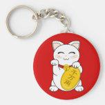 Good Fortune Cat - Maneki Neko Basic Round Button Key Ring
