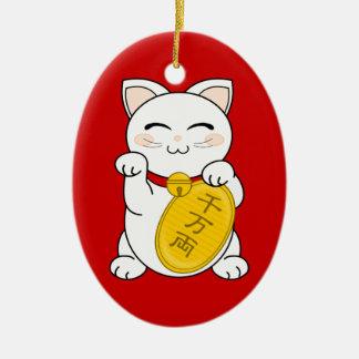 Good Fortune Cat - Maneki Neko Ceramic Oval Decoration