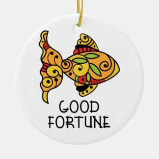 Good Fortune Round Ceramic Decoration