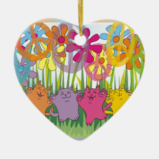 Good Fortune Flower Power Peace Cats Ceramic Heart Decoration