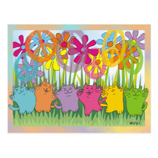 Good Fortune Flower Power Peace Cats Postcard