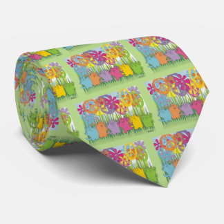 Good Fortune Flower Power Peace Cats Tie