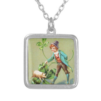 Good Fortune on St. Patrick's Day Square Pendant Necklace