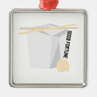 Good Fortune Silver-Colored Square Decoration