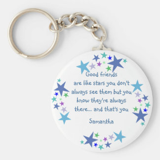 Good friends are like stars Custom Name for Friend Basic Round Button Key Ring