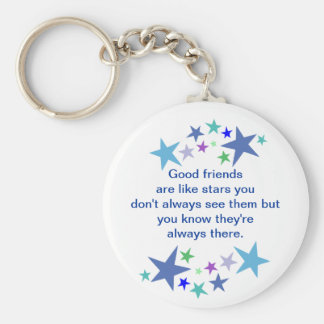 Good Friends are Like Stars Fun Quote Basic Round Button Key Ring