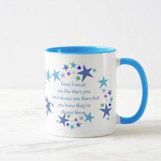 Good Friends are like Stars Quote Mug