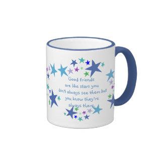 Good Friends are like Stars Quote Ringer Mug