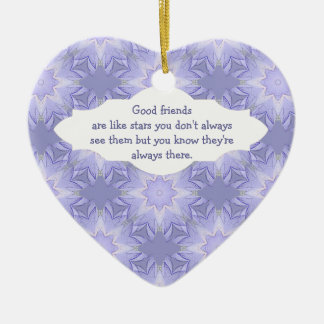 """Good Friends are Like Stars"" Quote Watercolor Ceramic Heart Decoration"