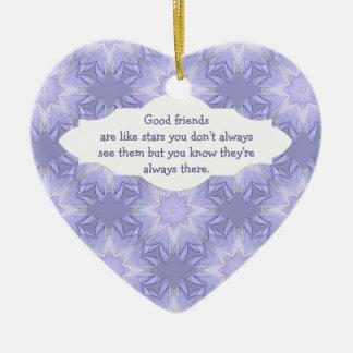 """Good Friends are Like Stars"" Quote Watercolor Ceramic Heart Decoration"