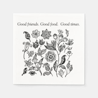 Good friends. Good food, Good times napkins Paper Napkins