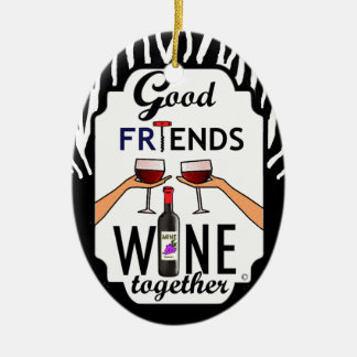 Good Friends Wine Christmas Ornament