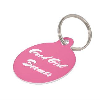 Good Girl Boomer Pink White Typography Pet Name Tags