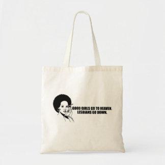 Good girls go to heaven. Lesbians go down. Budget Tote Bag