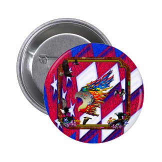 Good Hunting Eagle Arrows and Flowers Frame 6 Cm Round Badge