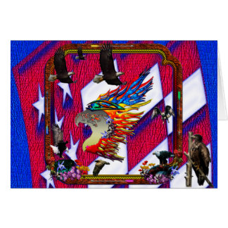 Good Hunting Eagle Arrows and Flowers Frame Greeting Card