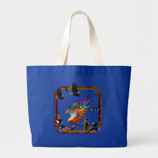Good Hunting Eagle Arrows and Flowers Frame Jumbo Tote Bag