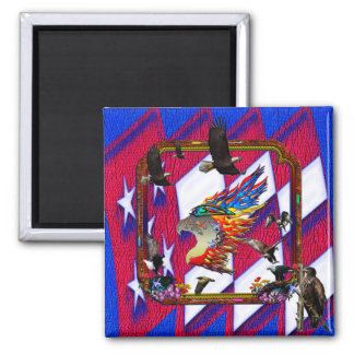 Good Hunting Eagle Arrows and Flowers Frame Square Magnet