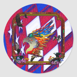 Good Hunting Eagle Arrows and Flowers Frame Round Sticker