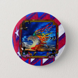 Good Hunting Eagle Sky background clear edge 6 Cm Round Badge