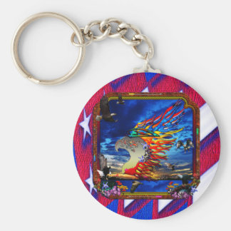 Good Hunting Eagle Sky background clear edge Basic Round Button Key Ring