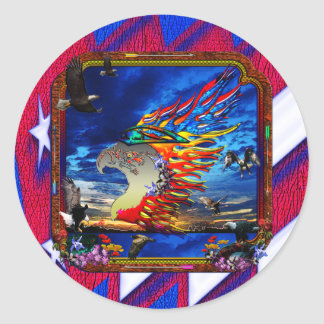 Good Hunting Eagle Sky background clear edge Classic Round Sticker